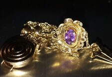 14kt Yellow Gold RGVS Purple Amethyst Slide Bracelet Charm w/ Spacer Beads