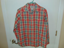 WRANGLER Ladies Long Sleeve Snap Front Shirt SZ MED Plaid Western