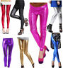 Metallic Liquid Wet Look Shiny Stretchy Leggings Tight Ankle Length Size Pants
