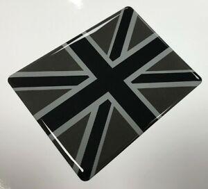 UNION JACK FLAG Sticker/Decal 90mm - BLACK & 2 TONE GREY - HIGH GLOSS DOMED GEL