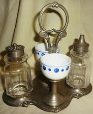 VRare 1880-90 EGG CUP HOLDER w/ SALT & PEPPER in ORIGINAL SCROLLED FRAME - NICE!