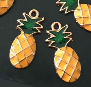 6 Pineapple Charms Gold Plated Enamel Pendant Charm 25x10mm