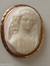 Victorian Angel Skin Cameo 9ct Gold Brooch Classical Figural Lady Girl