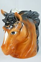 Vintage Relpo Brown & Black Horse Headvase Ceramic Planter 6739 Made in JAPAN