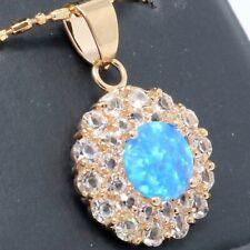 Antique Blue Australian Fire Opal Halo Necklace Women Birthday Jewelry Gift Box