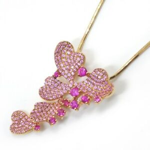 Fine Jewelry Heart Leaves Motif Ruby Pink Sapphire Necklace 750(18K) Rose Gold