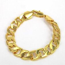 "Men's Valentine's Gift 18K Yellow Gold Plated 9"" 24cm No Stone Chain Bracelet"