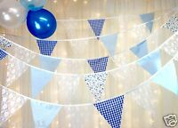 Blue Bunting white lace gingham floral dot - choose your own length - wedding