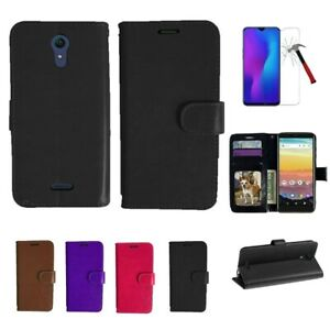 For Cricket Vision 3, Wallet Pouch Cover Case PU Leather Stand Tempered Glass