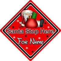 Personalised Santa Stop Here Window Sign ~ Santa Sack - Red
