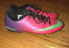 NIKE Girls MERCURIAL SOCCER SOFTBALL Cleats Shoes Pink Purple Lime Size 5.5 Y #