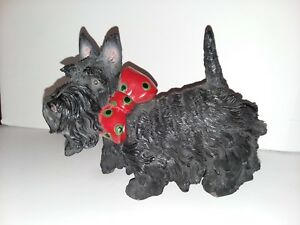Scottie Dog Scottish Terrier Home Decor Statue with Red Bow
