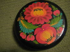 "Original Vintage 1965 Wood Round PAINTED FLORAL STASH BOX 6X2"" USSR 264"