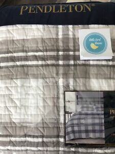 Pendleton Twin Quilt Crestbrook Plaid Grey Multi Brand New Factory Folded Cotton