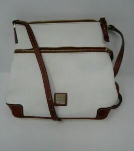 Dooney & Bourke White Pebbled Leather Red Canvas Lined Crossbody Shoulder Bag