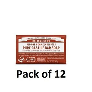 Dr Bronner Eucalyptus Soap Bar Made with Organic Ingredients 140g Pack of 12