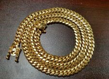 "24"" 14k Gold Plated Silver Miami Cuban Link Chain, 7 mm 90 grams"