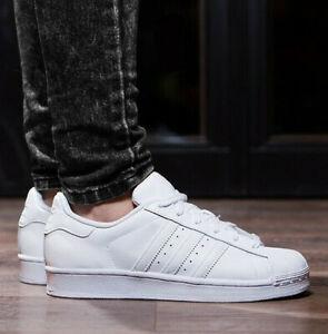 Adidas Superstar 80S Zapatos de Piel para Hombre Zapatillas Cuero Blanco 46 2/3