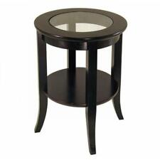 Homecraft Furniture End Table Round Clear Glass Tabletop Espresso Flared Legs