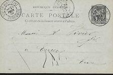 ENTIER  POSTAL  CARTE  POSTALE  TYPE SAGE  1901 ARDENNES