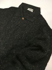 GIANNI VERSACE VINTAGE '96 POLO THICK SWEATER MEN KNIT CHARCOAL GRAY MULTI COLOR