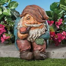 Funny Sitting Garden Gnome Statue with Pipe Resin Outdoor Home Figurine Decor