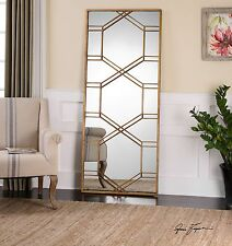 "Contemporary 70"" Gold Metal Overlay Mirror 
