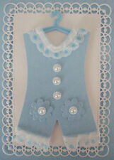 Baby Boy Romper Suit Topper Hand Made for card making -New Baby Blue