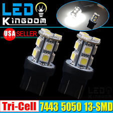 2x White 7443 13-SMD LED Light Bulbs Backup Reverse 7440 T20 7441 7444 7444A 992