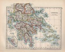 1899 victorian map ~ grèce ~ cyclades morea