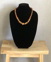 Vintage Wooden Necklace Graduated Beads Holiday Cruise Hippie Boho Costume Gift
