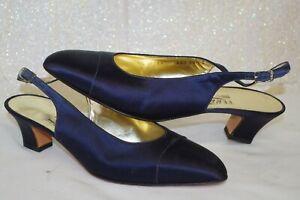 / NEW Salvatore Ferragamo Slingback Dress SHOES Navy Satin Italy 10.5 B Heels