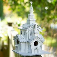 LITTLE WHITE CHAPEL BIRD HOUSE BIRDHOUSE DISTRESSED - JACKSON MOUNTAIN