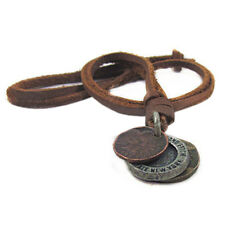 Fashion Mens Womens Charm Choker 3 Coins Pendant Genuine Leather Necklace Showy