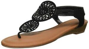 Rampage Women's Candia Slingback Elastic Strap Low, Black Microsuede, Size 6.0
