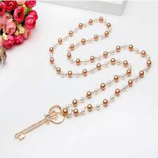 Women Key Shaped Heart Crown Clear Crystal Pearl Sweater Chain Necklace Jewlery