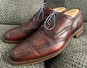 Mercanti Fiorentini Burgundy Leather Wingtip Oxford Shoes 10.5M Made Italy 6650