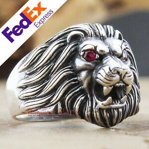 Turkish 925 Sterling Silver Ruby Gothic Lion Biker Luxury Men's Ring All Sizes