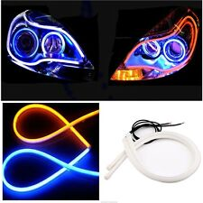2PC 60CM Switchback Car DRL LED Light Strip Sequential Turn Signal Blue / Amber