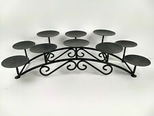 10 Candle Candelabra Black Iron Metal Scroll Holder Centerpiece Fireplace Decor