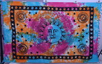 TIE & DYE SUN & MOON INDIAN HIPPY WALL HANGING BEDSPREAD TWIN TAPESTRY THROW