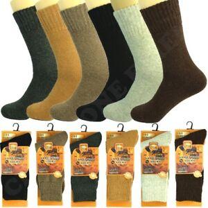3 Pairs Mens Merino Lambs Wool Winter Boots Thermal Crew Work Socks Size 10-13