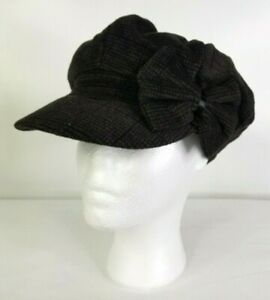 Magid Brown Check Velvet Button Top Beret Cap Hat Side Bow One Size