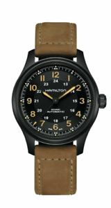 Authentic Hamilton Khaki Field Titanium Black Dial Leather Men's Watch H70665533