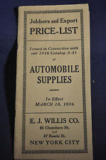 1916 Jobbers and Export Price List Automobile Supplies, EJ Willis Co., New York