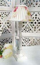Tischleuchte Holz ADELE Lampe E27 Weiß Stoffschirm Geblümt Creme Landhaus