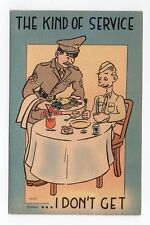 Linen Postcard,WW 2 Comic Postcard,Soldier Being Served Dinner by Officer