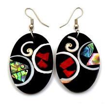 "Handmade 2.2"" Oval Red Coral Paua Abalone Shell Shiva Eye Dangle earrings ;DA390"