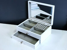 NEW 1 DRAWER WOODEN JEWELLERY GIFT BOX IN GLOSS FINISH 6819010 WHITE 1.5k