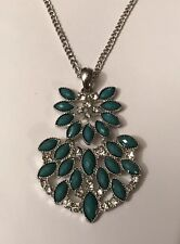 """Silver Tone 34"""" Sparkly Green Cubic Zirconia Necklace Pendant (A236)"""